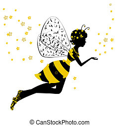 pequeno, fada, menina, abelha