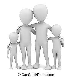 pequeno, family., 3d, -, pessoas