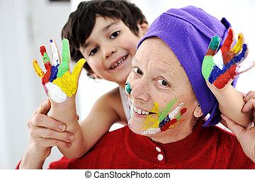 pequeno, filho, parenting, cores, sujo, tocando