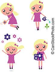 pequeno, flores, cute, criança, primavera