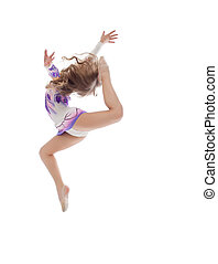 pequeno, ginasta, salto, posar, artisticos, gracioso