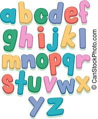 pequeno, jogo, letras, coloridos