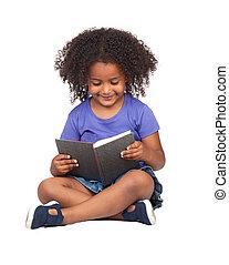 pequeno, livro, estudante menina, leitura