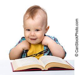 pequeno, livro, jogo, óculos, criança