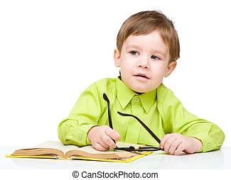 pequeno, livro, jogo, criança
