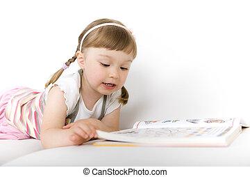 pequeno, livro, leitura, menina