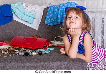pequeno, lote, dela, ð¡hild, clothes., escolher, wardrobe., novo, menina, vista
