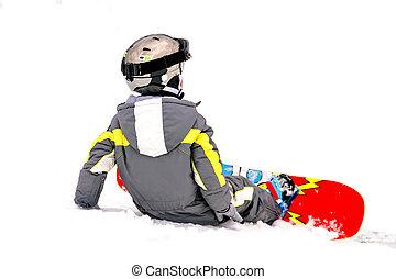 pequeno, menino, snowboarding