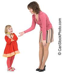 pequeno, mulher, maçã, pergunta, ao lado, menina