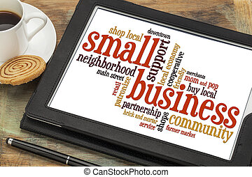 pequeno, palavra, negócio, nuvem
