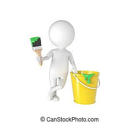 pequeno, pessoa, balde, pintar escova, branca