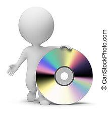 pequeno, pessoas, -, 3d, cd