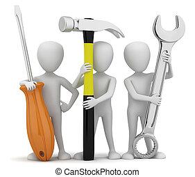 pequeno, repairers., 3d, pessoas
