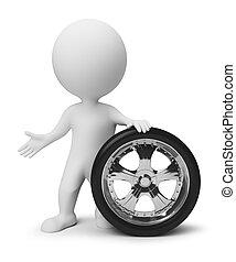 pequeno, roda, 3d, -, pessoas