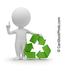pequeno, símbolo, reciclagem, 3d, pessoas