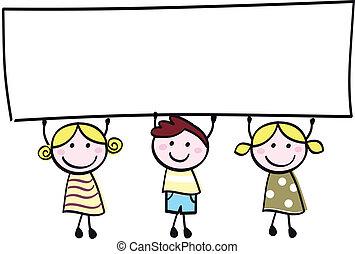 pequeno, segurando, bandeira, feliz, vazio, cute, -, menino, meninas, em branco, caricatura, illustration.