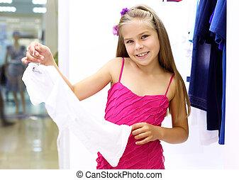 pequeno, shopping, menina