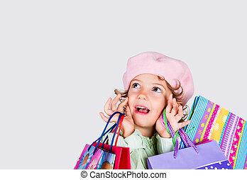 pequeno, shopping, menina, surpreendido