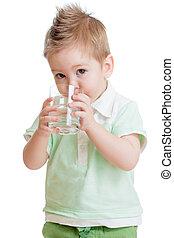 pequeno, tiro., boy., isolado, aquilo, vidro água, estúdio, white., criança, bebendo, ou, criança