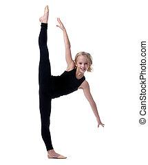 pequeno, vertical, imagem, divisão, flexível, menina