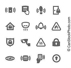 perímetro, segurança, ícones