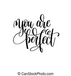 perfeitos, lettering, citação, branca, tinta preta, tu, positivo