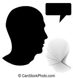 perfil, cabeça, macho