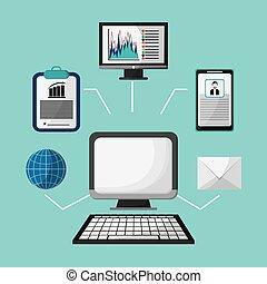 perfil, globo, estratégia, computador, internet, email