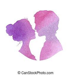 perfil, illustra, aquarela, silhuetas, vetorial, mulher, homem