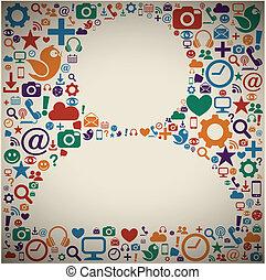 perfil, mídia, social