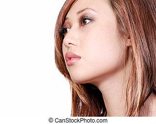 perfil, mulher, asiático