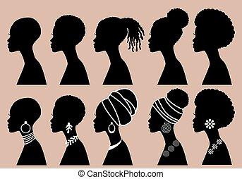 perfil, pretas, vetorial, africano, meninas, mulheres, jogo, silhuetas