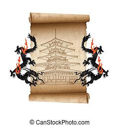 pergaminho, antigas, scroll, dragões, pagode