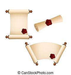pergaminho, papel, antigas, scroll