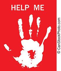 perguntar, impressão, ajuda, mão