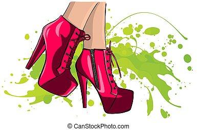 pernas, qualidade, vetorial, ilustração, alto, shoes.