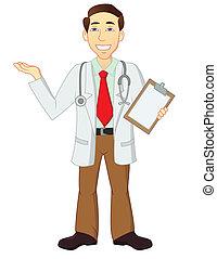 personagem, caricatura, doutor