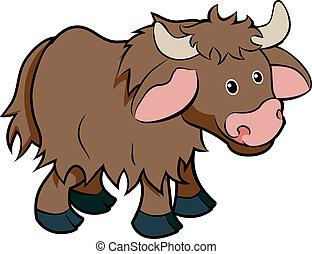 personagem, caricatura, yak, animal