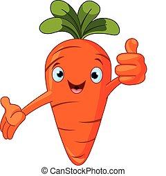 personagem, dar, tomate, polegares cima