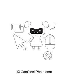 personagem, design., cultivando., linha, criativo, 2d, mau, vetorial, teia, marketing, idéia, magra, fraude, robô, caricatura, conceito, clique, visitantes, automatizado, internet, ligações, webpages, anúncios, bot, illustration., clicando