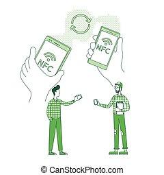 personagem, design., dados, linha, criativo, 2d, enviando, vetorial, teia, idéia, magra, câmbio, segurando, caricatura, conceito, informação, pessoas, transferência, arquivo, conteúdo, móvel, cellphones, illustration.
