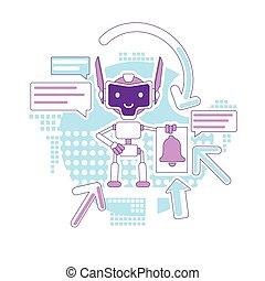 personagem, design., email, assistente, newsletter., notificação, linha, criativo, 2d, enviando, vetorial, teia, marketing, idéia, magra, robô, caricatura, conceito, digital, automatizado, correios, bot, illustration.
