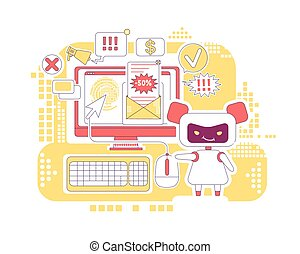 personagem, design., newsletter., linha, criativo, 2d, enviando, mau, vetorial, teia, idéia, magra, robô, caricatura, conceito, clique, spam, software, automatizado, letras, ligações, anúncios, bot, illustration., clicando
