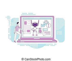personagem, design., notícia, assistente, newsletter., notificação, linha, criativo, 2d, vetorial, homem, teia, marketing, idéia, magra, caricatura, conceito, digital, obtendo, automatizado, correios, bot, illustration.