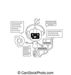 personagem, design., online, app, linha, criativo, chatbot, application., 2d, vetorial, teia, idéia, magra, robô, caricatura, conceito, apoio, conversa, conversando, internet, serviço, bot, comunicação, illustration.