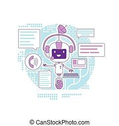 personagem, design., online, app, linha, criativo, chatbot, application., 2d, vetorial, teia, idéia, magra, robô, caricatura, programa, conceito, apoio, automatizado, internet, serviço respondendo, comunicação, illustration.