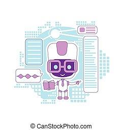 personagem, design., online, informational, linha, criativo, 2d, vetorial, teia, tecnologia, magra, idéia, robô, caricatura, conceito, mercado de zurique, dar, apoio, assistente, bot, sugestões, aprendizagem, illustration.