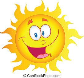 personagem, feliz, caricatura, sol
