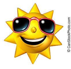 personagem, feliz, sol