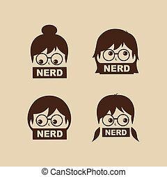 personagem, nerd, vetorial, menina, caricatura, sinal, logotipo, geek